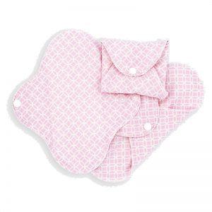 Imsevimse inlegkruisjes en maandverband van biologisch jersey katoen - pink halo